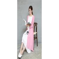 夏装大码女装胖MM棉麻连衣裙中长裙两件套裙印花裙 粉色开衫+印花裙 4