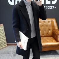 男士中长款风衣男秋冬季韩版潮流学生百搭毛呢子大衣男装帅气外套