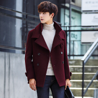 秋冬双排扣毛呢大衣男韩版修身帅气男士风衣短款加厚羊毛呢外套潮 红色