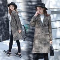 千鸟格毛呢外套女2017冬装新款韩版修身中长款加棉加厚呢子大衣女
