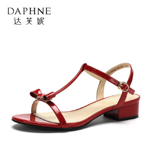 Daphne/达芙妮2018夏季新款韩版甜美蝴蝶结鞋子女凉鞋