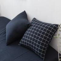 棉色织水洗棉抱枕套一对不含芯 绵正方形客厅沙发靠垫套 藏青方格 抱枕套一对 45x45cm