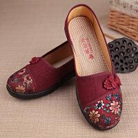 中老年奶奶绣花平底民族风软底老太太女单鞋老北京布鞋女鞋妈妈鞋