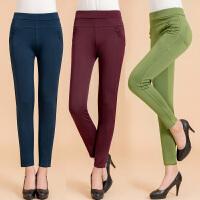 春秋季中年妇女裤女士弹力高腰妈妈打底裤中老年外穿长裤子休闲裤