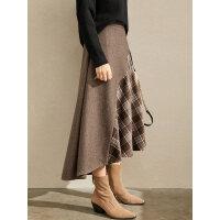 【3折价:189元/再叠优惠券】Amii极简法式复古小众半身裙2019冬季新款格纹不规则羊毛呢中长裙