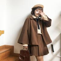 2018秋冬新款女装羊毛呢子外套+毛呢高腰百褶短裙气质套装两件套