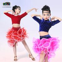 春夏女童分体亮钻蓬蓬裙练功服蓬蓬裙儿童拉丁舞裙服装比赛演出服