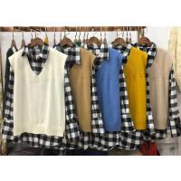 R5秋冬季格子衬衫港味学生上衣毛衣马甲背心两件套装女2018春0.55