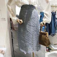 韩国ulzzang2018春新款高腰不规则镂空蕾丝中长裙百搭显瘦半身裙