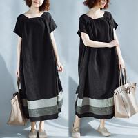 大码夏装新款复古文艺短袖条纹连衣裙女中长款宽松藏肉拼接长裙子