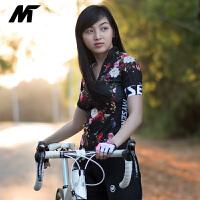 夏季短袖�T行服上衣女子自行�山地�速干衣黑色花�@
