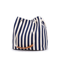 新款女包帆布水桶包条纹单肩包斜跨多用包韩版时尚纯色妈咪手提包
