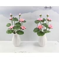 欧式客厅高品质仿真荷花荷叶假植物摆件 落地莲花供佛装饰防真花
