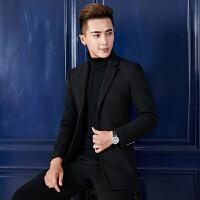 秋冬季男士风衣短款韩版修身帅气英伦毛呢大衣男青年妮子外套