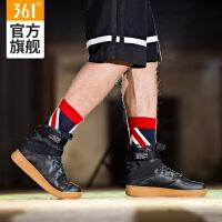 361度男鞋加绒加厚板鞋男高帮绑带休闲鞋空军冬季一号运动鞋
