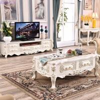 欧式大理石茶几法式全橡木实木茶几客厅家具法式茶几电视柜组合