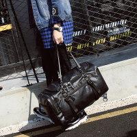 七夕礼物男士旅行包大容量手提斜跨旅游休闲行李男包韩版商务出差双肩背包 双肩斜跨手提B40黑色 中