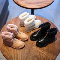 女童靴子�R丁靴冬季新款英��加毛大棉保暖女孩棉靴子童鞋