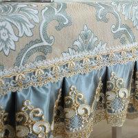 欧式提花布艺餐桌布椅套椅垫套装圆桌桌布台布长方形茶几布盖巾罩 慕羽 水蓝