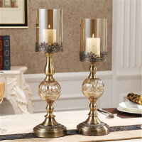 美式餐桌家居样板间装饰品摆件 欧式水晶金属烛台工艺品
