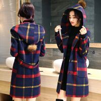 韩观冬季连帽格子毛呢外套女中长款韩版加厚学生妮子呢子大衣
