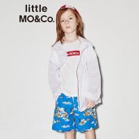 【折后价:170.7】littlemoco夏季新品儿童防晒衣纯色彩条织带拉链休闲连帽外套
