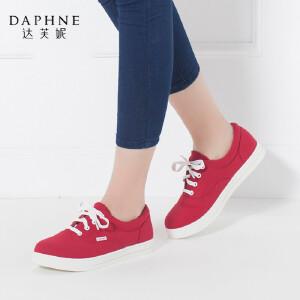 Daphne/达芙妮秋款夸系带深口女单鞋平底圆头休闲帆布单鞋