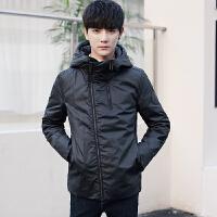 2017新款冬季短款羽绒服男士韩版连帽外套纯色青年灰鸭绒潮流外套 黑色
