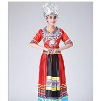 刺绣苗族演出服云南少说民族舞蹈服装壮族湘西族瑶族表演服装 红色长款 上衣+裙子