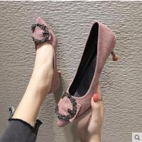 小清新女鞋高跟鞋女网红同款新款韩版少女尖头细跟浅口单鞋女
