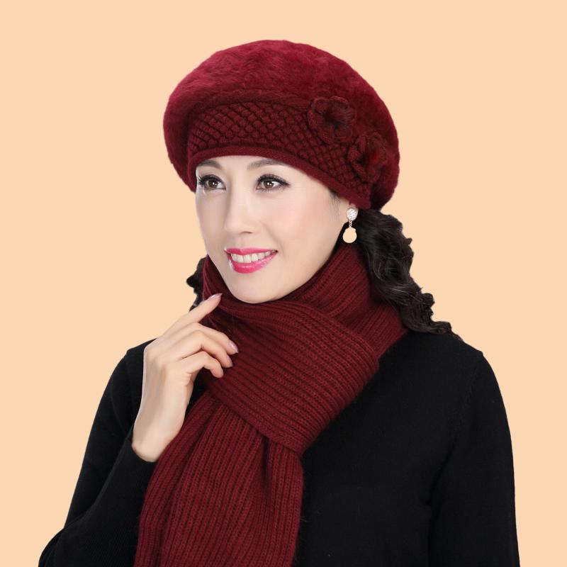 中老年人冬天兔毛针织帽老人帽子女冬季毛线帽保暖妈妈奶奶贝雷帽