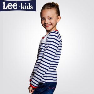 LEE童装 2017秋季新品女童时尚休闲百搭上衣 儿童长袖条纹T恤