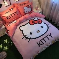 棉卡通哈喽Kitty四件套棉公主风凯蒂猫被套床单儿童女孩床品 米白色 喜悠悠