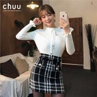 chuu毛衣女2019秋冬季新款韩版长袖内搭套头木耳边打底针织衫上衣