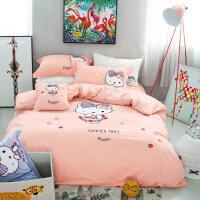 家纺纯棉卡通被套四件套全棉绣花儿童床上用品三件套学生1.5m床