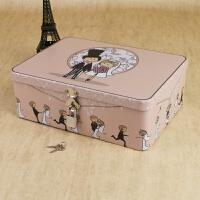 密码带锁收纳盒储物盒小型半岛铁盒盒子钥匙证件马口铁迷你铁皮的 乳白色 婚礼殿堂(大号)