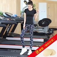 瑜伽服套装女春夏季速干健身房跳操跑步裤运动衣瑜珈显瘦 k10短袖黑+k1220花裤 送XD