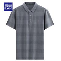 【2折预估到手价:93叠券更优惠】罗蒙短袖POLO衫男士2021夏季新款商务休闲打底衫中青年条纹T恤衫