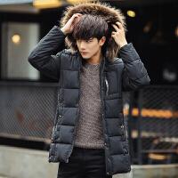 韩版修身冬季新款加厚中长款棉衣男潮牌大毛领外套男士棉袄潮 黑色 M
