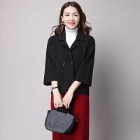 短款非毛呢外套韩版上衣大码女装春秋新款外套宽松针织短外套开衫