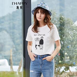 海贝2018夏装新款女上衣 韩版卡通字母印花短袖全棉基础款T恤百搭