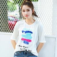夏季新品百搭宽松彩色涂鸦字母圆领短袖T恤女棉显瘦小衫潮