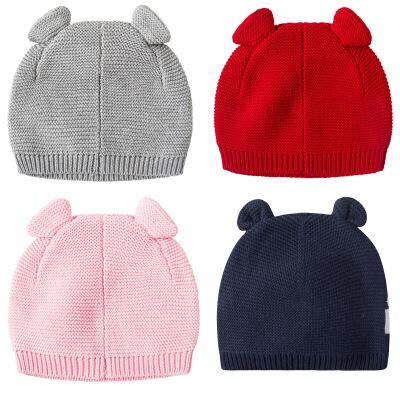冬季男女婴儿小熊耳朵针织百搭纯色帽宝宝秋冬保暖毛线帽子套头帽 发货周期:一般在付款后2-90天左右发货,具体发货时间请以与客服协商的时间为准