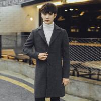 香港潮牌冬季风衣男中长款外套韩版修身毛呢大衣男士加厚潮流帅气 深灰色 M