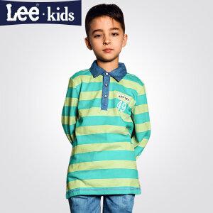 LEE童装  秋款新品男童长袖T恤 中大童翻领休闲儿童纯棉T恤