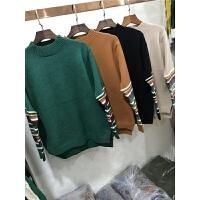 P7半高领毛衣女宽松秋冬套头韩版短款加厚条纹长袖打底针织衫0.45