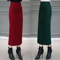秋冬包臀裙半身长裙高腰裙子后开叉铅笔裙显瘦冬裙长款毛呢一步裙