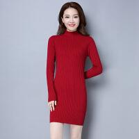 秋冬羊绒衫女中长款羊毛针织衫韩版修身包臀半高领毛衣套头打底衫