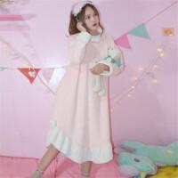 秋冬季女装新款韩版可爱法兰绒加厚宽松睡衣连衣裙学生睡裙居家服 均码