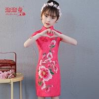 儿童公主裙刺绣小女孩演出短袖连衣裙女童旗袍新款中国风唐装夏季